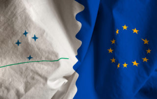 Mercosur and European Union flags